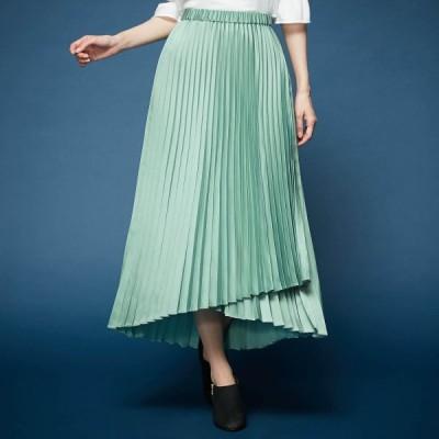 ベルメゾン 艶感素材のレイヤードプリーツスカート スモーキーグリーン S M L LL 3L