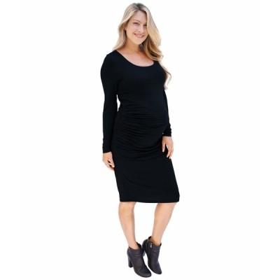 イングリッドアンドイザベル ワンピース トップス レディース Maternity Long Sleeve Side Shirred Dress Black
