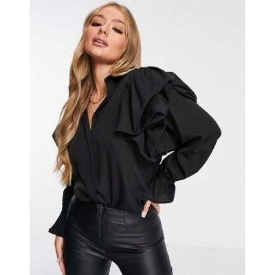 アックスパリ レディース シャツ トップス AX Paris ruffle shoulder shirt in black
