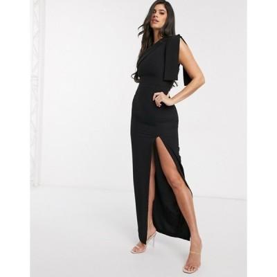 ベスパー レディース ワンピース トップス Vesper one shoulder maxi dress in black