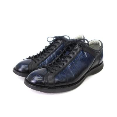 【中古】リーガル REGAL STANDARDS スタンダード スニーカー レザー 型押し ネイビー 黒 ブラック系 24.5 靴 メンズ 【ベクトル 古着】