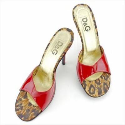 ドルチェ&ガッバーナ ミュール シューズ 靴 ♯37ハーフ サンダル ドルガバ ピンヒール レッド ベージュ ブラウン エナメルレザーDOLCE&GA