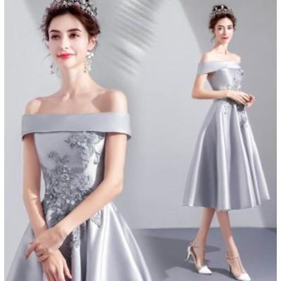 カラードレス  パーティードレス 灰色 花柄 シンプル キャバドレス お呼ばれドレス 編み上げ 演奏会 結婚式 成人式 TSZ-39