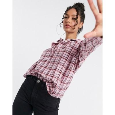 ハートブレーク レディース シャツ トップス Heartbreak oversized check shirt in pink
