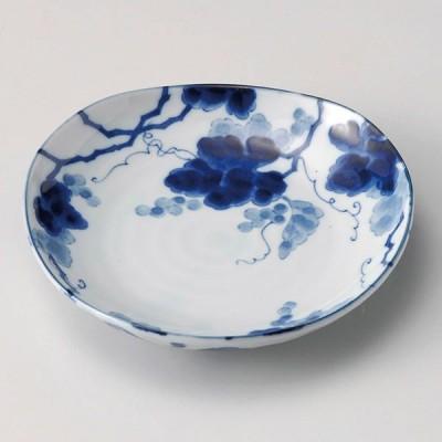 (業務用・12cm)藍染ぶどう三角3.5皿[33959-178](入数:1)