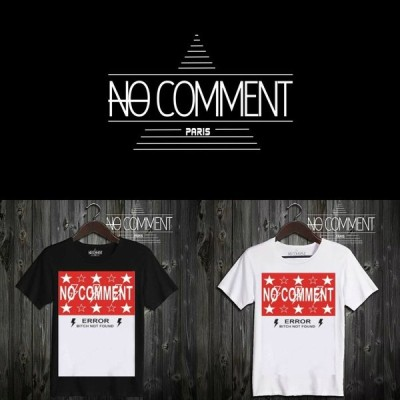 NO COMMENT PARIS ノーコメントパリ 半袖 Tシャツ ブラック ホワイト ラウンドネック Vネック メンズ レディース ロゴ・スター・レッド logo star red-LTN39