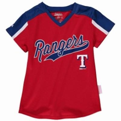 Stitches スティッチ スポーツ用品  Stitches Texas Rangers Girls Youth Red/Royal V-Neck Jersey T-Shirt