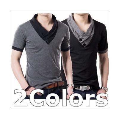 カットソー Tシャツ ポロシャツ 半袖 メンズ おしゃれ 無地 白 スポーツ 七分袖 SC16-47 40代 50代