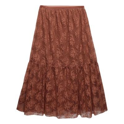 LA MAISON DE PARIS ロングスカート ブラウン 1 ポリエステル 100% / コットン / ポリウレタン ロングスカート