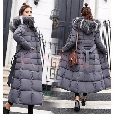 中綿ジャケット レディース ロング コート ダウンコート アウター フード付き ファー付き スリム 冬 防寒服