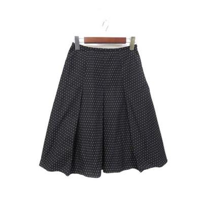 【中古】ノーリーズ Nolley's スカート 36 黒 ブラック ドット柄 ひざ丈 フレア レディース 【ベクトル 古着】