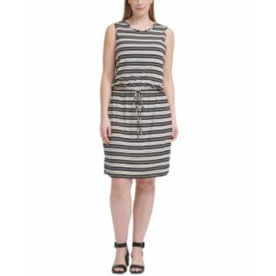 カルバンクライン レディース ワンピース トップス Plus Size Striped Tie-Waist Dress Black Multi