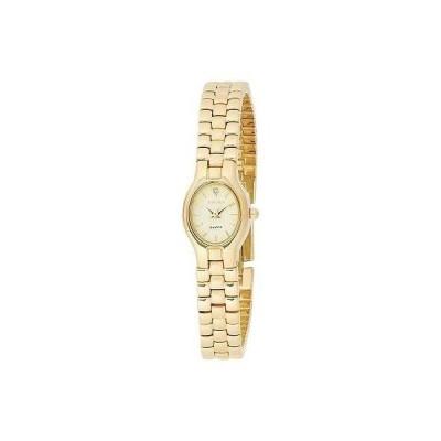 腕時計 エルジン New Elgin Diamond Women Gold Tone Bracelet Dress Watch 17mm EL320N