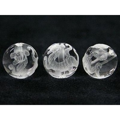 天然石 ビーズ【彫刻ビーズ】水晶 12mm (素彫り) 白虎 パワーストーン