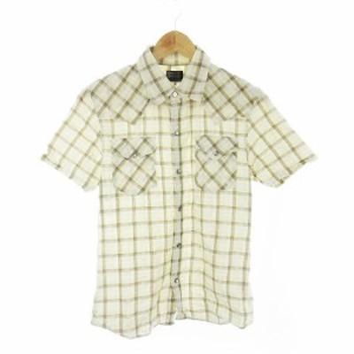 【中古】タケオキクチ TAKEO KIKUCHI シャツ 半袖 チェック 2 白 ホワイト /CK メンズ
