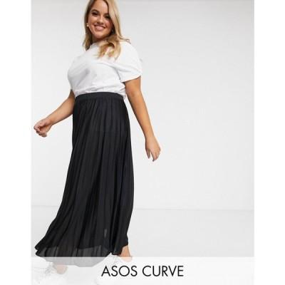 エイソス ASOS Curve レディース ひざ丈スカート スカート ASOS DESIGN Curve pleated midi skirt ブラック