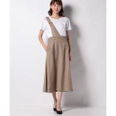 MELROSE Claire(メルローズ クレール)【WEB限定】リネンレーヨンクロスワンストラップスカート