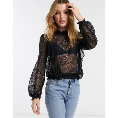 リバーアイランド レディース シャツ トップス River Island frill front lace blouse in black