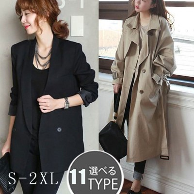 即納 韓国ファッション  S~2XL ジャケット/入園式入学式/トレンチコート コート レディース オーバーサイズ ロング トレンチ コート /卒業式/ ジーンズ アウタージャケットコート