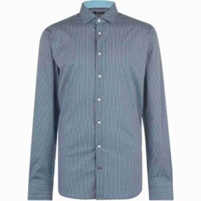 トミー ヒルフィガー Tommy Hilfiger メンズ シャツ スリム トップス Slim Fit Stretch Printed Shirt Teal