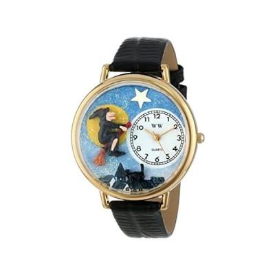 〈新品送料無料〉ハロウィン 魔法使い 黒レザー ゴールドフレーム時計 #G1220001