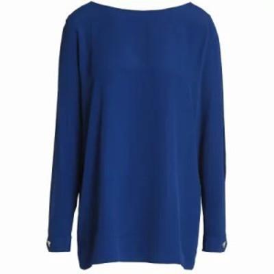 モスキーノ ブラウス・シャツ Cutout crepe blouse Royal blue