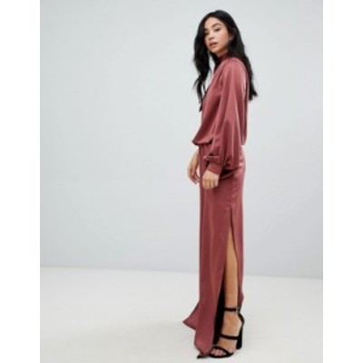 エイソス レディース ワンピース トップス ASOS DESIGN one shoulder satin jumpsuit with blouson sleeve Rust