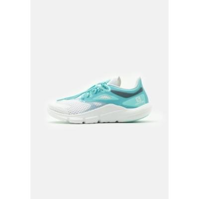 サロモン シューズ レディース ランニング PREDICT MOD  - Neutral running shoes - white/tanager turquoise