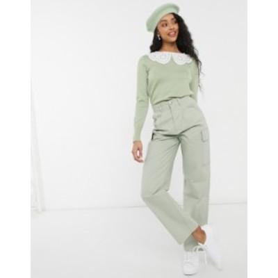 ニュールック レディース ニット・セーター アウター New Look collar detail sweater in light green Light green