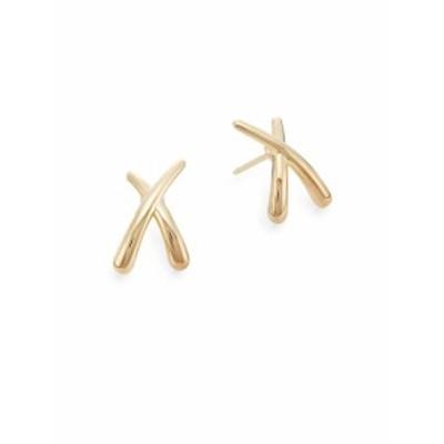 サックスフィフスアベニュー レディース ジュエリー 14K Yellow Gold Criss-Cross Stud Earrings