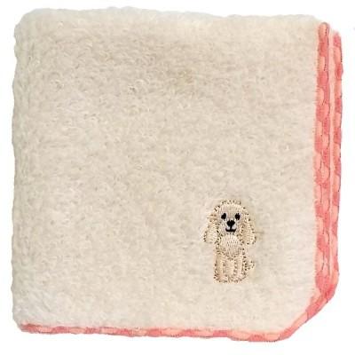 メール便対応 犬のワンポイント刺繍付き|無撚糸パイル ハンドタオル コッカースパニエル