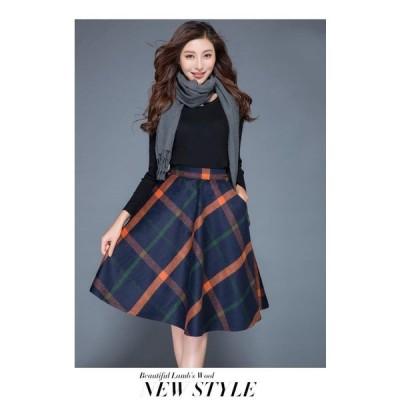 レディース 秋 冬 ひざ丈スカート フレアスカート 無地 シンプル チェック柄 スリム 大きいサイズ 体型カバー ウール あたたかい 上品 大人 きれいめ 韓国
