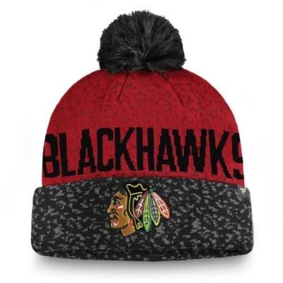 ユニセックス スポーツリーグ ホッケー Chicago Blackhawks Fanatics Branded Fan Weave Cuffed Knit Hat with Pom - Black/Red - OSFA
