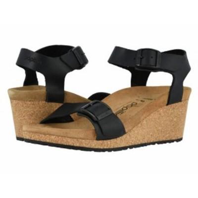Birkenstock ビルケンシュトック レディース 女性用 シューズ 靴 ヒール Soley by Papillio Black Leather【送料無料】
