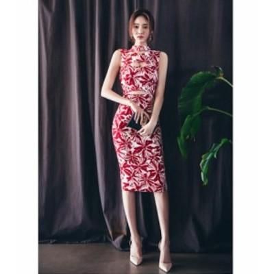 送料無料 赤 セクシー ワンピース 花柄 タイト セクシーワンピース ワンピ オープンバック ナイトドレス