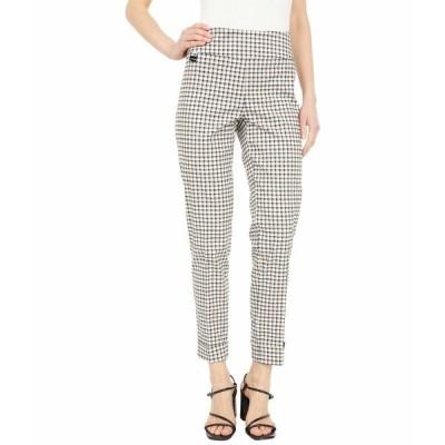 リセットエルモントリオール カジュアルパンツ ボトムス レディース Naverra Check Print 28'' Slim Ankle Pants with Cuffs White/Black