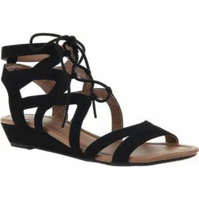 Madeline レディースサンダル Madeline Sand Dune Lace Up Wedge Sandal Black Textile