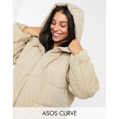 エイソス ASOS Curve レディース ダウン・中綿ジャケット アウター ASOS DESIGN Curve puffer jacket in cappuccino カプチーノ