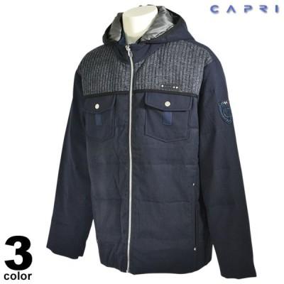 セール 80%OFF CAPRI カプリ 長袖 ブルゾン メンズ 秋冬 フード有 ジップアップ ロゴ 3131-3054