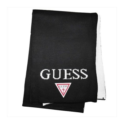 GUESS ゲス マフラー ブラック×ホワイト 約30×180cm AI4A8852DS-BLK