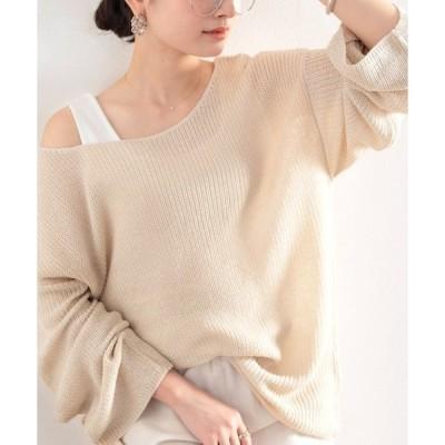 ニット 大人の抜け感。涼し気、透かし編み長袖サマーメッシュニット。