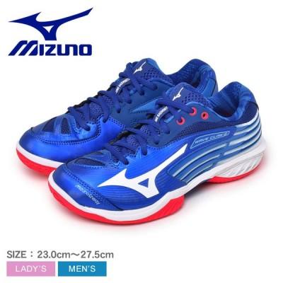 ミズノ バドミントンシューズ メンズ レディース ウェーブ クロー 2 スペシャル エディション MIZUNO 71GA2110 ブルー 青 白 靴
