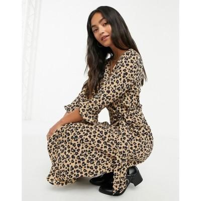 ブレーブソウル レディース ワンピース トップス Brave Soul leopard print satin wrap dress
