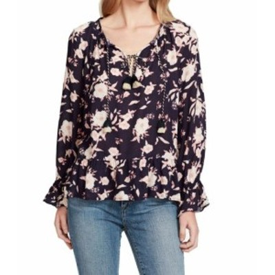 Jessica Simpson ジェシカシンプソン ファッション トップス Jessica Simpson Womens Blue Size XS Floral Print Tie Neck Blouse
