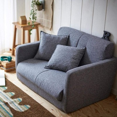 生活雑貨 ソファーベッド ソファー 脚を伸ばしてゆったり寝れる 3つ折りコンパクト 2P グレー