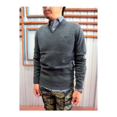 FRED PERRY(フレッドペリー) FRED PERRY K7210 CLASSIC V NECK SWEATER浅めVネックセーター Graphite marl