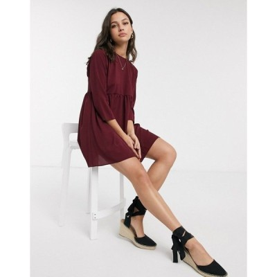 エイソス レディース ワンピース トップス ASOS DESIGN long sleeve smock mini dress in winter wine Winter wine