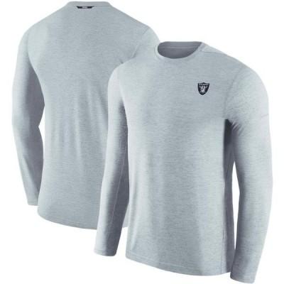 ユニセックス スポーツリーグ フットボール Las Vegas Raiders Nike Sideline Coaches Primary Logo Long Sleeve Performance T-Shirt - Gr