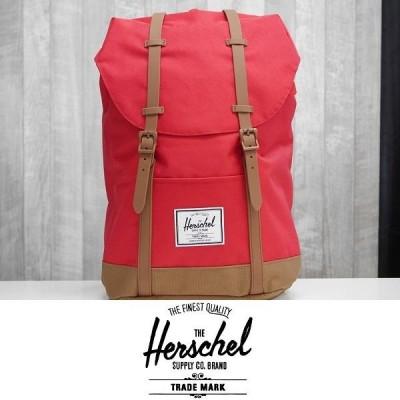 20 HERSCHEL ハーシェルサプライ バックパック RETREAT BACKPACK 600D POLY - RED/SADDLE BROWN 国内正規品