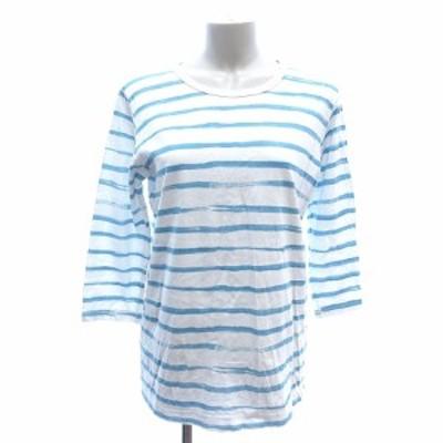 【中古】ネネット Ne-net カットソー Tシャツ Uネック ボーダー 七分袖 2 白 ホワイト 水色 /AU レディース